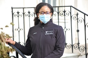 Dr. Allison Willis outside with mask