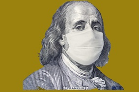 Ben Franklin in a COVID mask