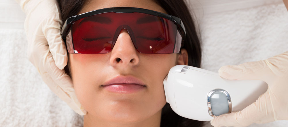 A patient receiving laser treatment