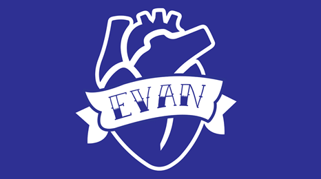 Drawing of tattoo showing anatomical heart with banner reading EVAN