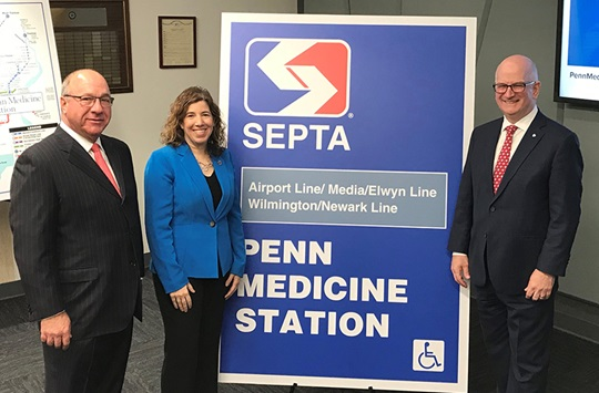 Penn Medicine and SEPTA announce new partnership that will result in the Regional Rail station known as University City Station becoming Penn Medicine Station.