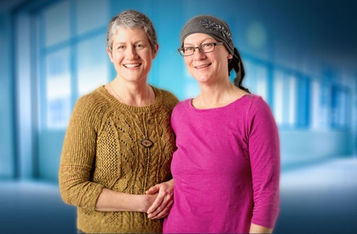 Kim and Pati, sisters and ovarian cancer patients, smiling