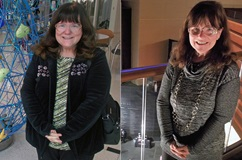 Side-by-side photos of Cheryl before and 30 months after bariatric surgery