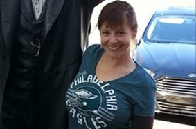 Chiara after weight-loss surgery in Eagles football shirt