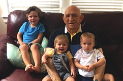 George Meney, 1000th lung transplant recipient, with his grandchildren