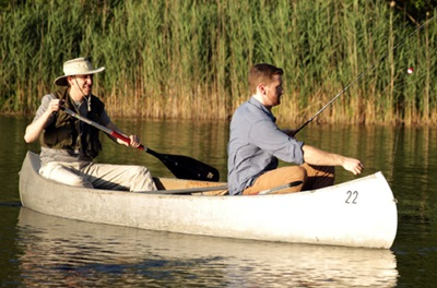 Jeff and John in a canoe