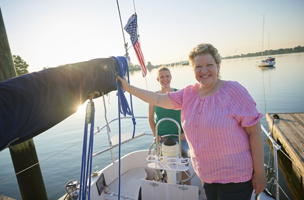 Living liver donor transplant - Sarah and Kathy on boat, smiling
