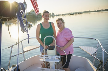 Living liver donor transplant - daughter Sarah and mom Kathy sailing a boat