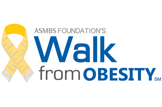 blue text with a gold measuring tape ribbon logo that says ASMBS Foundation's Walk from Obesity
