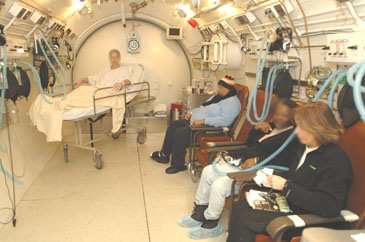 hyperbaric medicine chamber inside with patients