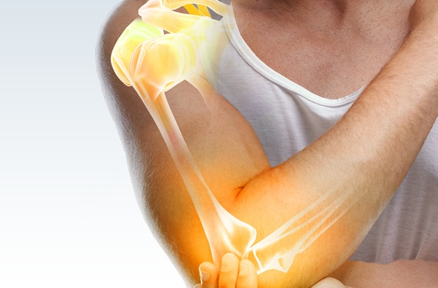 Translucent skeletal image indicating shoulder and elbow pain