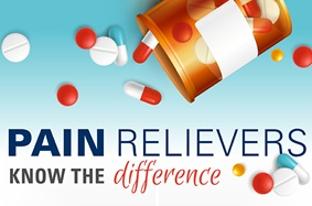 Orange_Pill_Bottle_Pours_Out_Various_Pills_Text_Says_Pain_Relievers_Know_the_Difference_On_Blue_and_White_Background