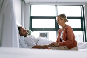 Woman Visiting Man Hospital