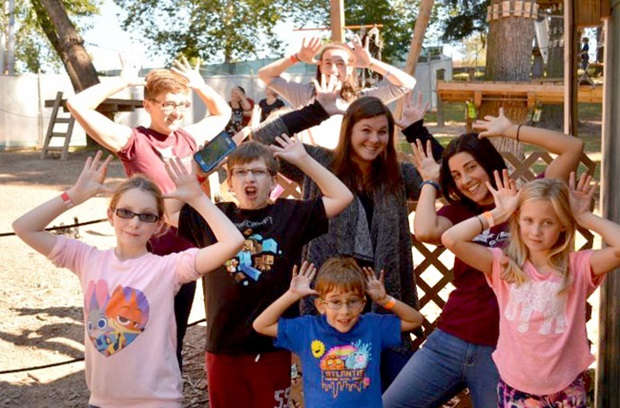 Children from David Bradley Children's Bereavement Program making silly faces.