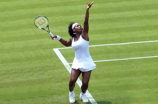 Serena Williams serving in tennis