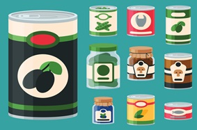 cartoon of canned goods