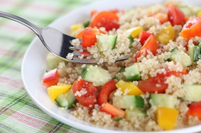 Quick, colorful quinoa Grecian salad