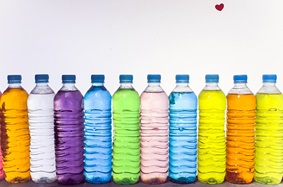 Multi-colored, plastic bottles