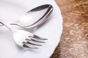 fork and spoon on plate