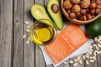 salmon, oil, avocado, seeds and nuts