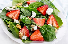 a strawberry, feta and walnut salad