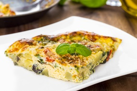 Frittata with summer garden vegetables