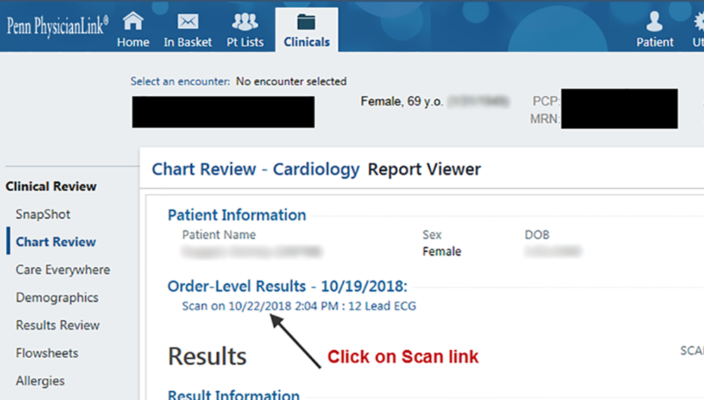 PhysicianLink EKG viewer screenshot