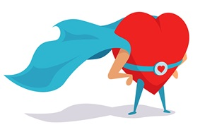 Heart hero cartoon