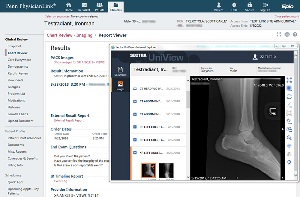 Screengrab image of PACS Image View tool in Penn PhysicianLink