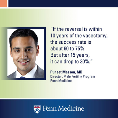 "infographic with a quote from Puneet Masson that reads ""If the reversal is within 10 years of the vasectomy, the success rate is about 60 to 75%. But after 15 years, it can drop to 30%"""