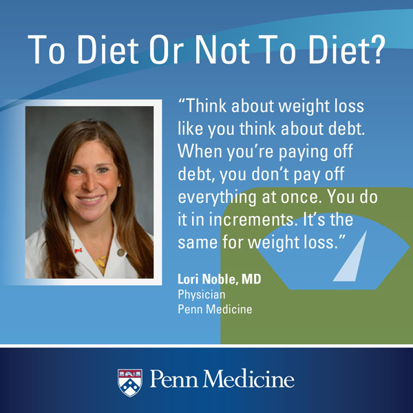 an infographic of a quote from Dr. Lori Noble that reads: think about weight loss like you think about debt. When you're paying off debt, you don't pay off everything at once. You do it in increments. It's the same for weight loss""