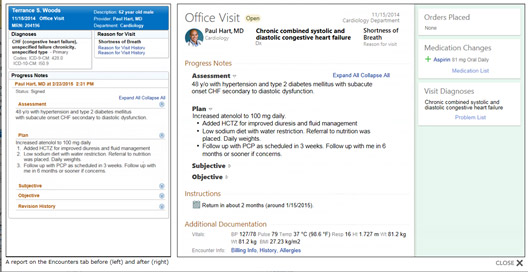 Screenshot of Penn PhysicianLink's Chart Review Encounters screen