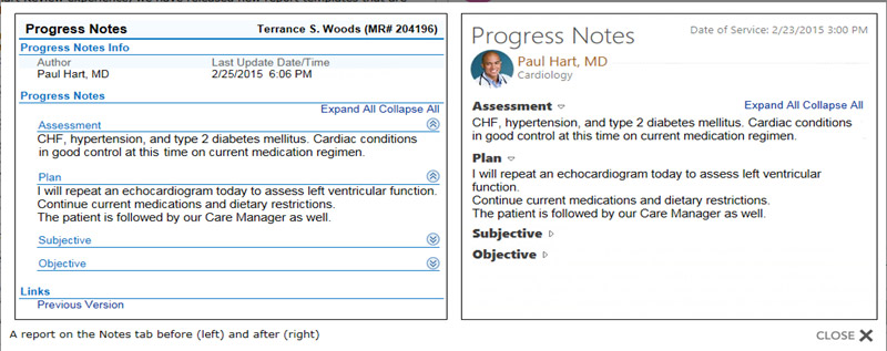 Screenshot of Penn PhysicianLink's Progress Notes screen