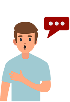 Graphic of man with speech bubble