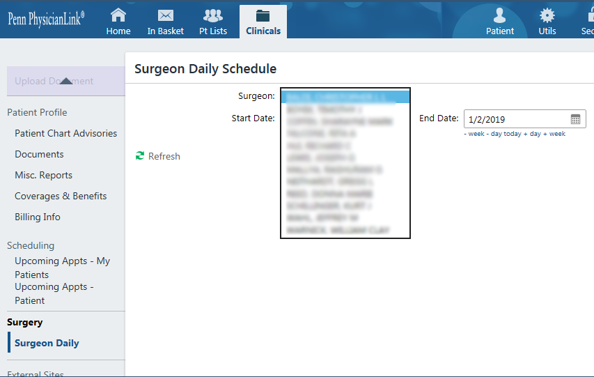 PhysicianLink surgeon daily schedule screenshot