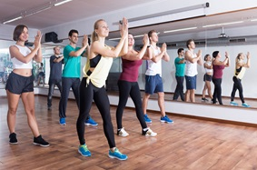 group of people in a dance class