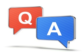 "The letters ""Q"" and ""A"" in speech bubbles"