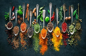 Assortment of spices on spoons