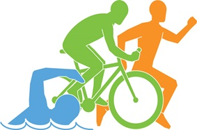 cartoon of a swimmer, biker and runner