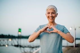 Older Woman Fit Heart Smiling