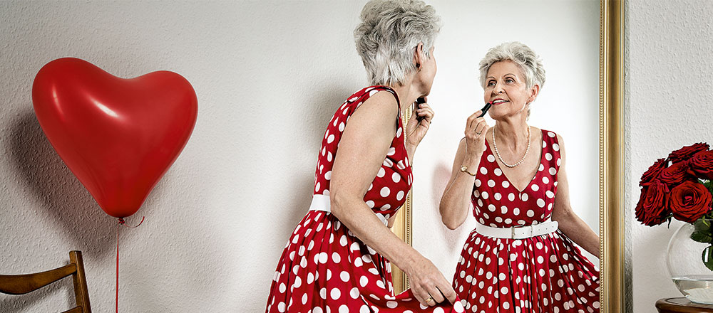 Woman in polka dot red dress